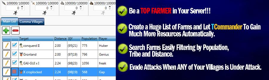 Travian Commander Bot Banner Farms