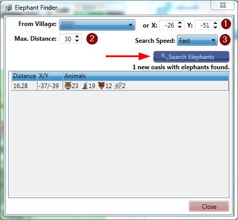 Elephants Travian Search - Elephants Finder - TCommander Bot