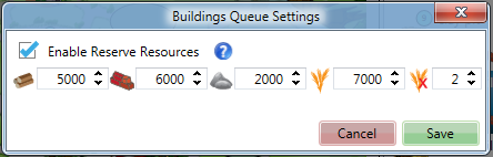 Buildings Queue Settings