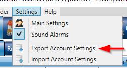 export/import settings